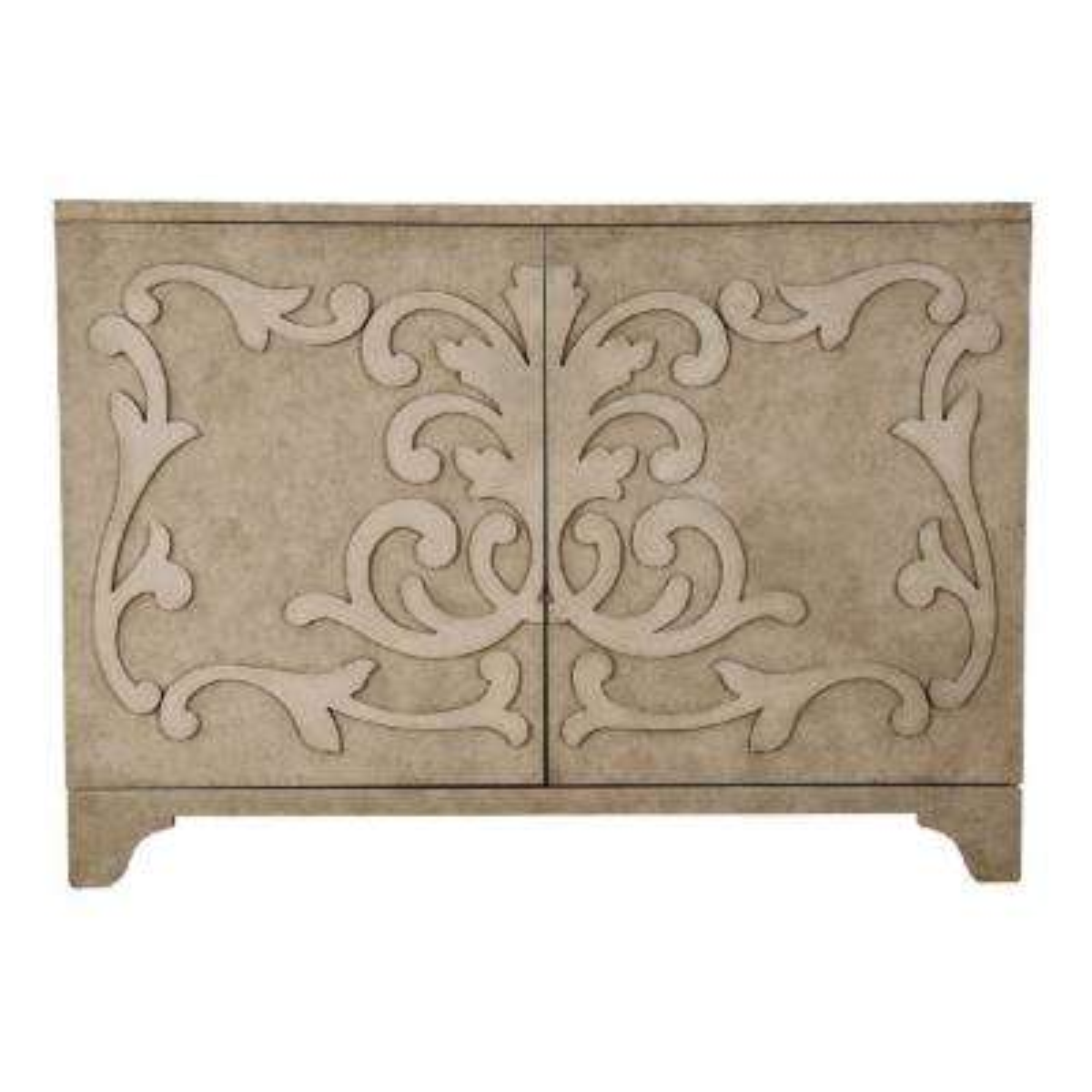 Ornate Overlay Beige 2-Door Accent Bar Cabinet