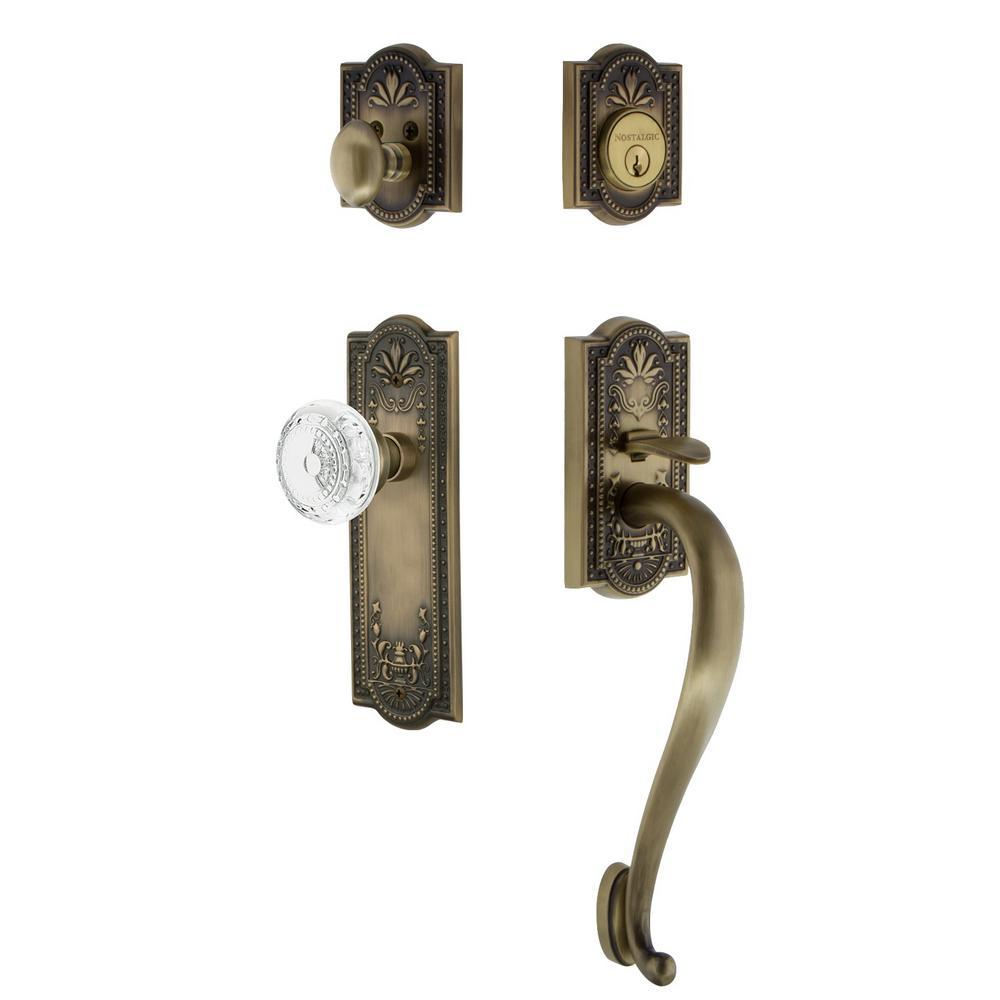 Meadows Plate 2-3/8 in. Backset Antique Brass S Grip Handleset Crystal Meadows Door Knob