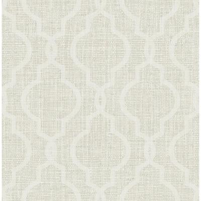 Geometric Jute White Quatrefoil Wallpaper