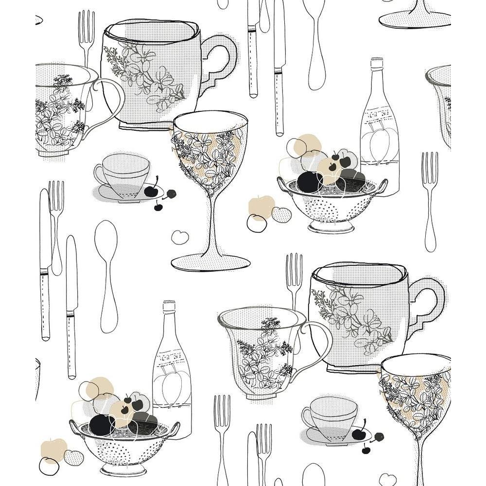 Graphic Tableware Wallpaper