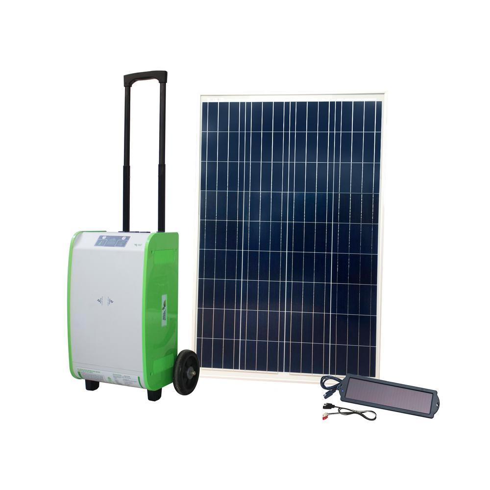 1,800-Watt Indoor/Outdoor Portable Off-Grid Solar Generator Kit with 100-Watt Solar Panel and Luggage Style Carrier