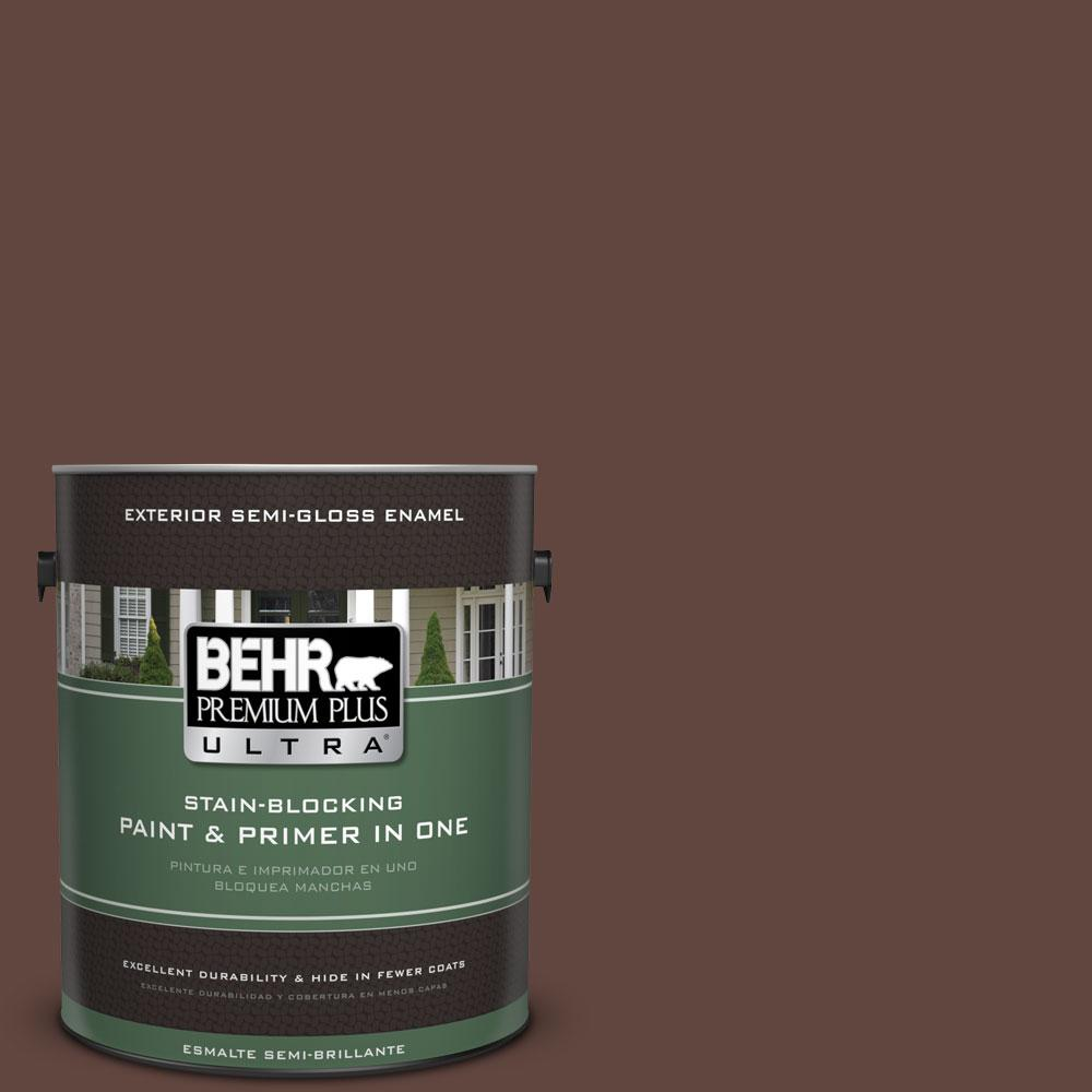 BEHR Premium Plus Ultra 1-gal. #180F-7 Warm Brownie Semi-Gloss Enamel Exterior Paint