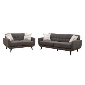 Crystal Upholstered Mid-Century 2-Piece Charcoal Living Room Set with 4-Accent Pillows