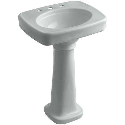 Bancroft Vitreous China Pedestal Combo Bathroom Sink in Ice Grey with Overflow Drain