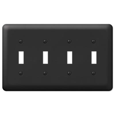 Declan 4 Gang Toggle Steel Wall Plate - Black