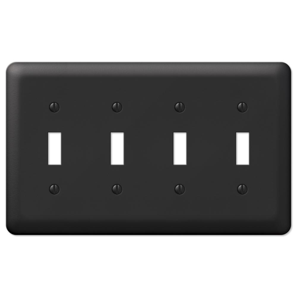 Declan 4 Gang Toggle Steel Wall Plate - Black