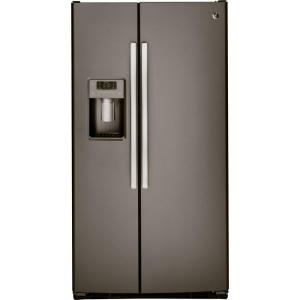 Click here to buy GE 33 inch W 22.5 cu. ft. Side by Side Refrigerator in Slate, Fingerprint Resistant by GE.