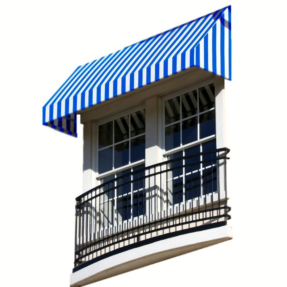 AWNTECH 14 ft. New Yorker Window/Entry Awning (16 in. H x 30 in. D) in Bright Blue/White Stripe