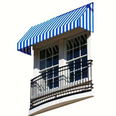 6 ft. New Yorker Window/Entry Awning (18 in. H x 36 in. D) in Bright Blue / White Stripe