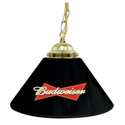 Budweiser 14 in. Single Shade Black and Brass Hanging Lamp