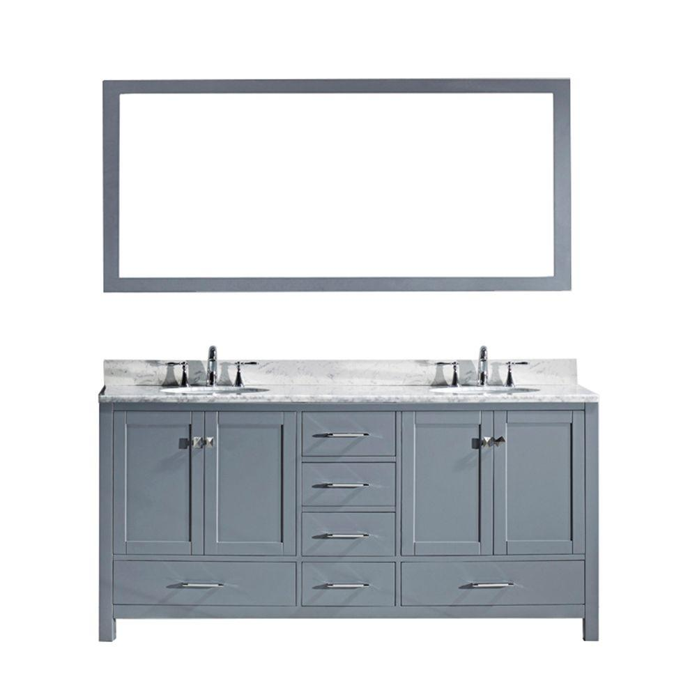 Virtu USA Caroline Avenue 72 in. W Bath Vanity in Gray with Marble Vanity Top in White with Round Basin and Mirror