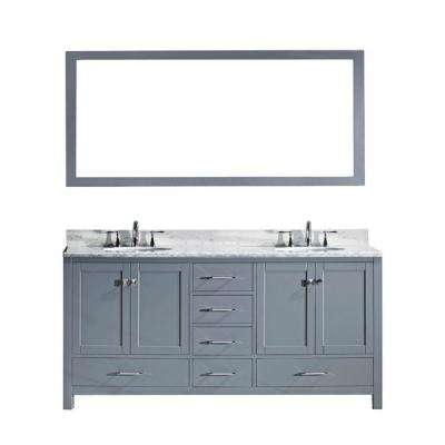 Caroline Avenue 72 in. W Bath Vanity in Gray with Marble Vanity Top in White with Round Basin and Mirror