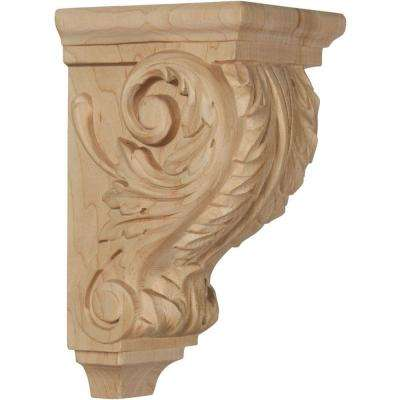 4 in. x 3-1/2 in. x 7 in. Unfinished Wood Red Oak Small Acanthus Wood Corbel