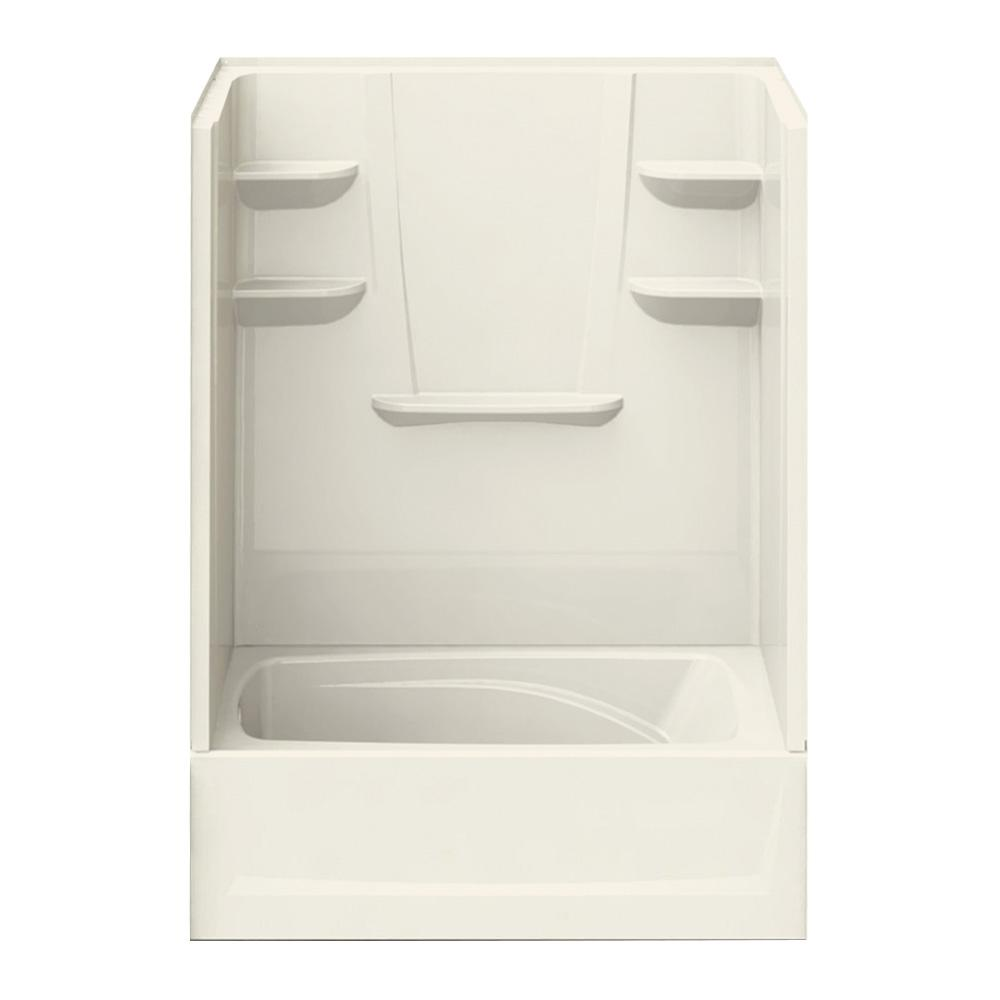 A2 37 in. x 60 in. x 83 in. Bath and Shower Kit Left-Hand Drain in Biscuit
