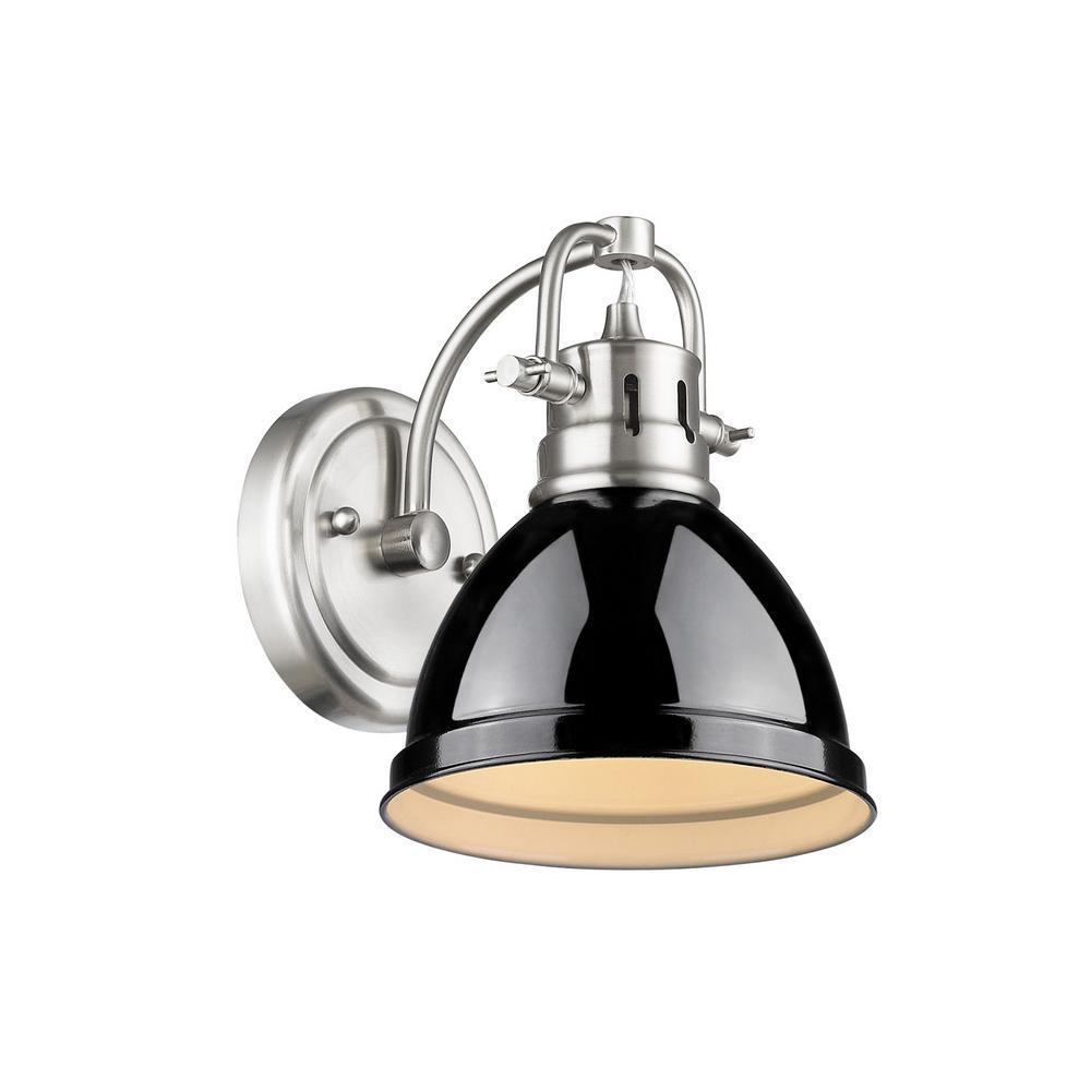 Duncan Pewter 1-Light Bath Light with Black Shade