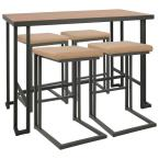 Roman 5-Piece Grey and Camel Counter Height Dining Set