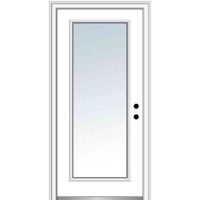 32 in. x 80 in. Classic Left-Hand Inswing Full-Lite Clear Low-E Primed Steel Prehung Front Door on 6-9/16 in. Frame