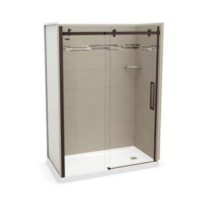 Utile Origin 32 in. x 60 in. x 83.5 in. Right Drain Alcove Shower Kit in Greige with Dark Bronze Shower Door