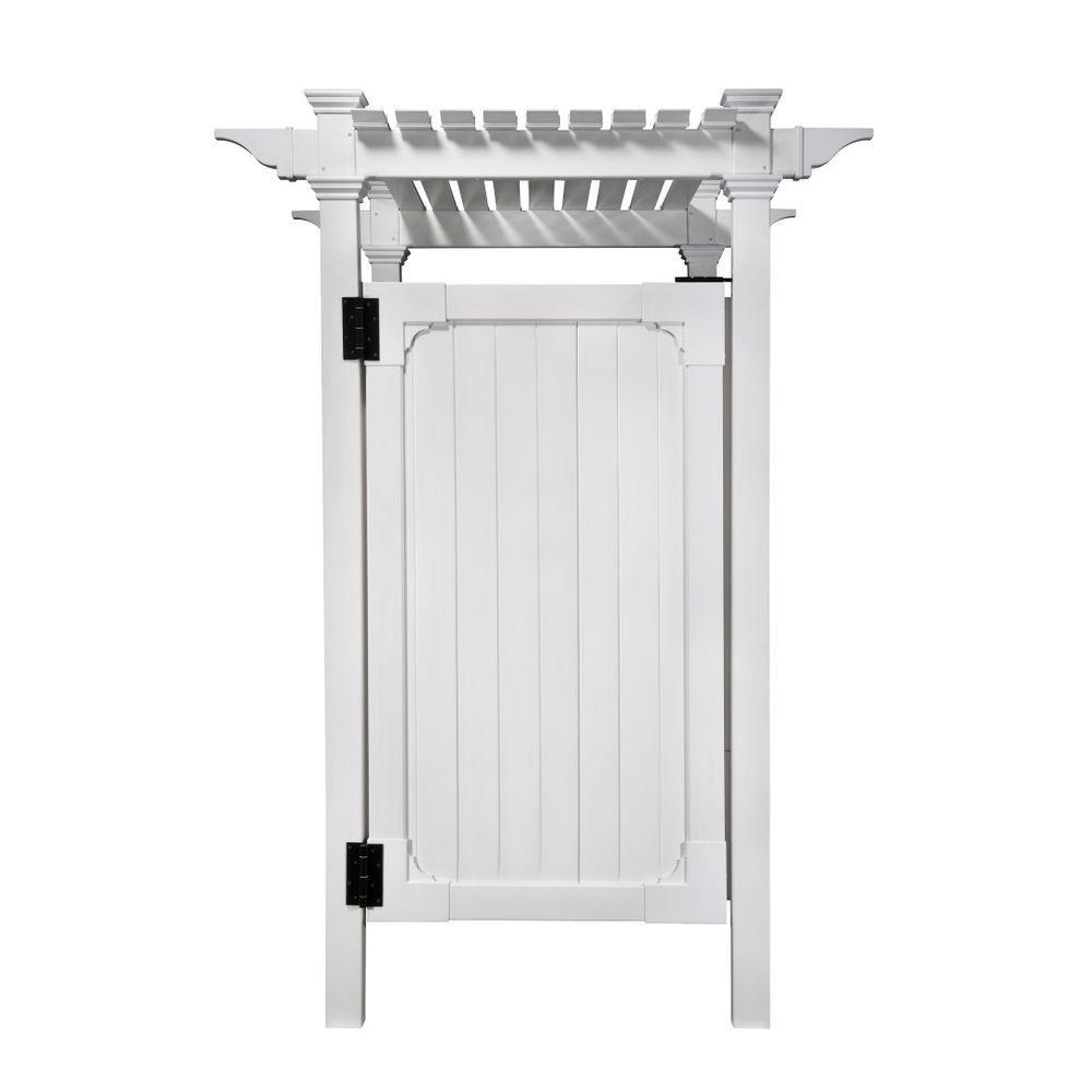 7.395 ft. x 5.145 ft. Vinyl Hampton Premium Outdoor Shower Fence Panel Kit (3 box unit) by