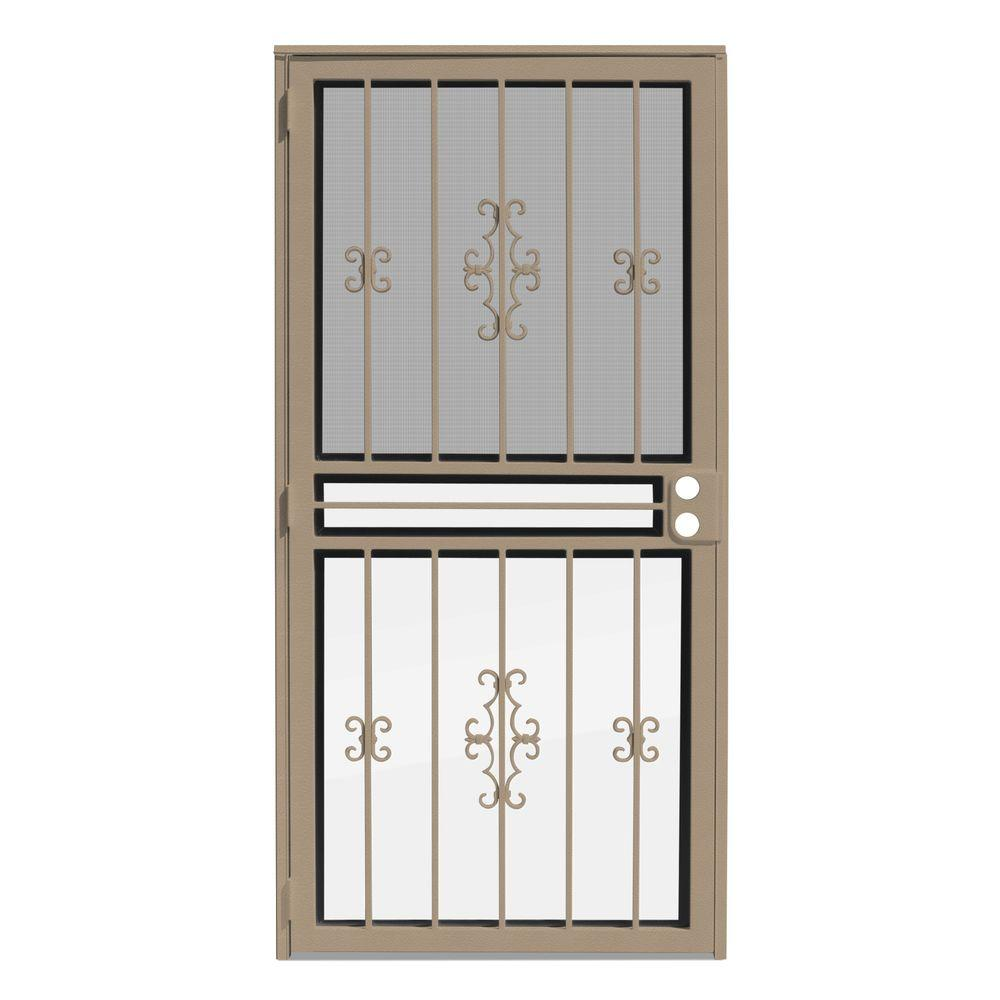 unique home designs 36 in x 80 in watchman duo tan recessed mount all season security door. Black Bedroom Furniture Sets. Home Design Ideas