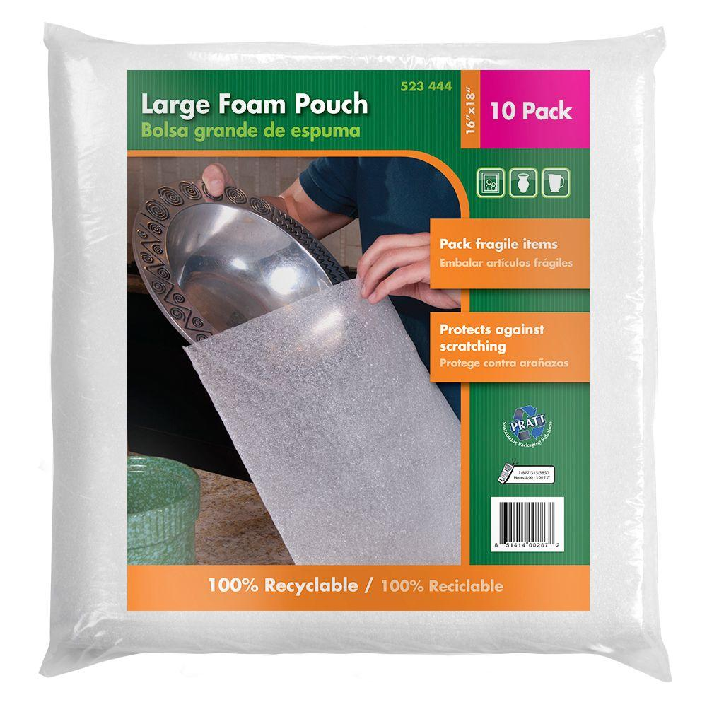 Pratt Retail Specialties 16 in. x 18 in. Large Foam Pouches (10-Pack)
