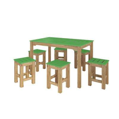 Stillwell 47.25 in. 7-Piece Green and Natural Wood Rectangle Dining Set