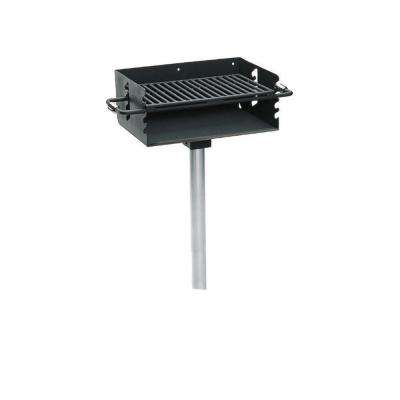 2-3/8 in. Rotating Flipback Pedestal Commercial Park Grill with Post in Black