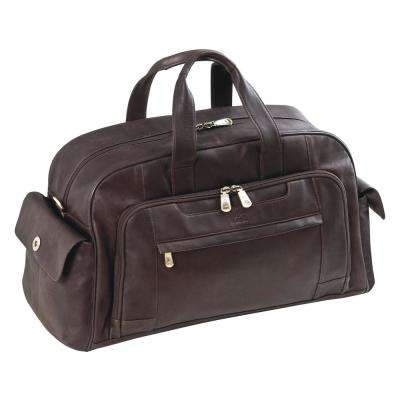 Colombian 10 in. Brown Leather Duffle Bag