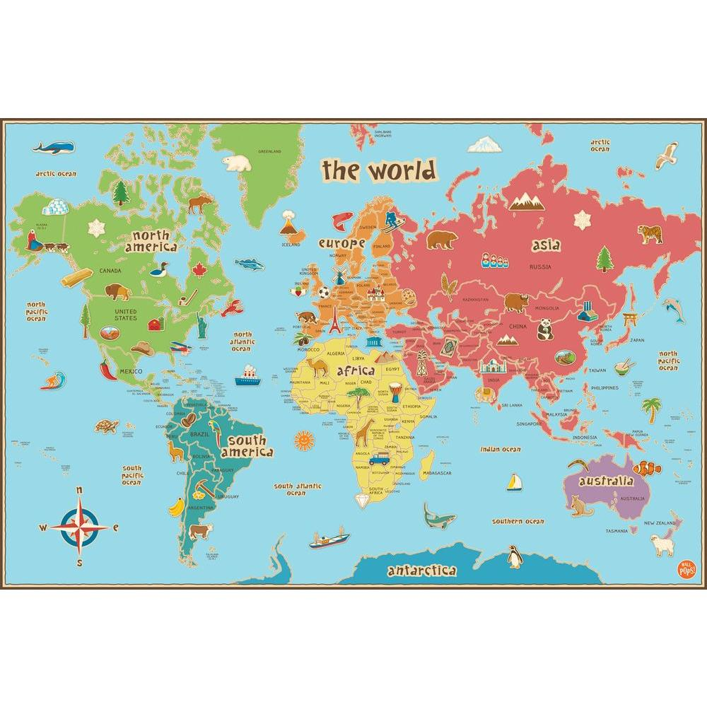 Kids World Map Wall Decal on