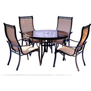 Hanover Monaco 5-Piece Aluminum Outdoor Dining Set with Round Glass-Top Table and Contoured Sling Stationary... by Hanover