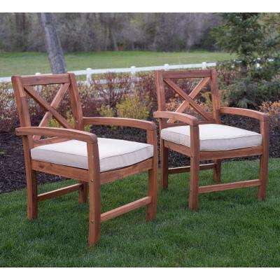 2-Piece Stationary Wood Outdoor Dining Chair with White Cushions