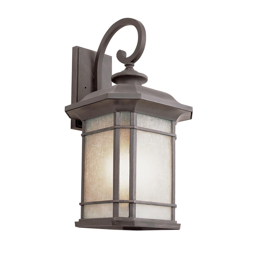 1-Light Outdoor Fluorescent Rust Wall Lantern With Tea Stain Linen Glass