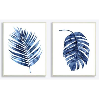 "10 in. x 15 in. ""Indigo Dark Blue Palm Frond Plant Painting Duo"" by Artist Melonie Miller Wood Wall Art(2-pieces)"
