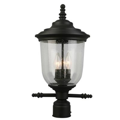 Pinedale 10.63 in. W x 21 in. H 3-Light Matte Black Outdoor Post Light with Clear Seeded Glass