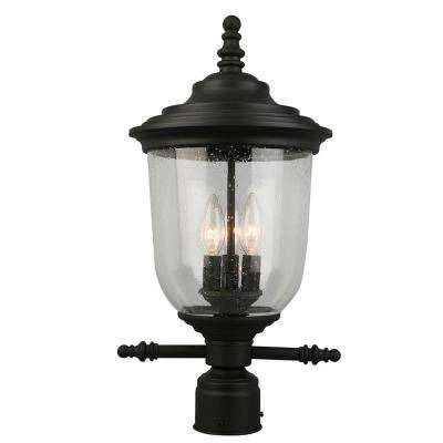 Pinedale 3-Light Outdoor Matte Black Post Light