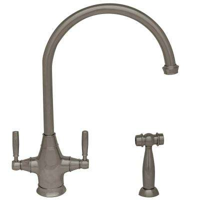 Queenhaus 2-Handle Standard Kitchen Faucet with Side Sprayer in Brushed Nickel