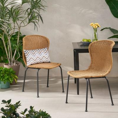 Spinnaker Black Wicker Outdoor Dining Chair in Light Brown (2-Pack)