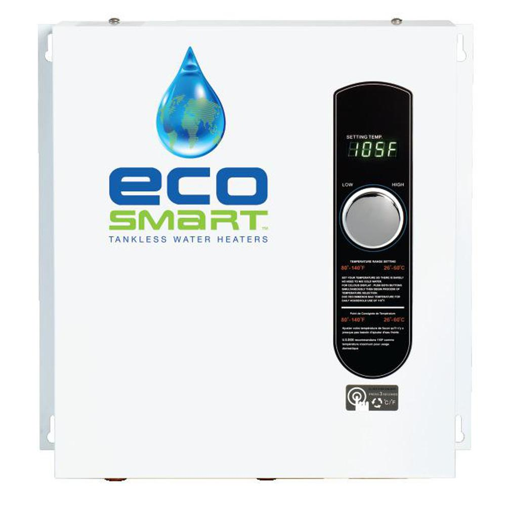 ecosmart 27 kw self modulating 5 3 gpm electric tankless water27 kw self modulating 5 3 gpm electric tankless water heater