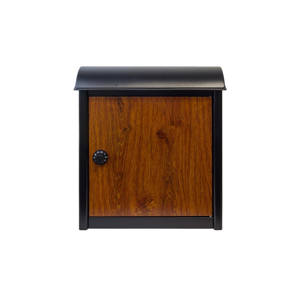 Leece Wall Mounted Mailbox in Black with Wood Finish Door and