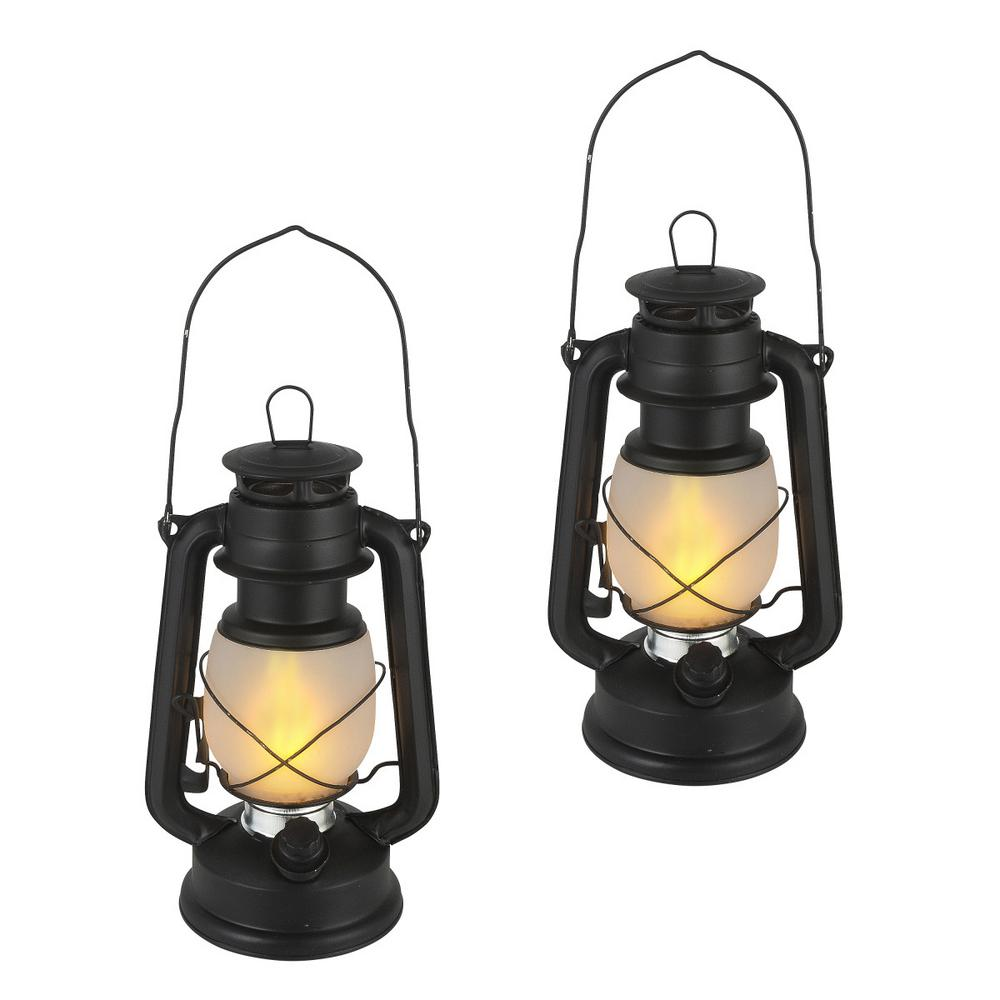 9.5 in. Black FireGlow Lantern (Set of 2)