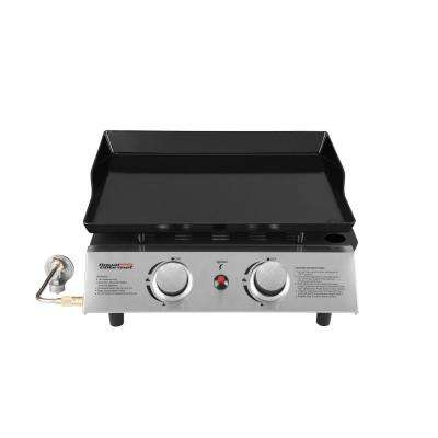 2-Burner Portable Tabletop Propane Gas Grill Griddle in Black