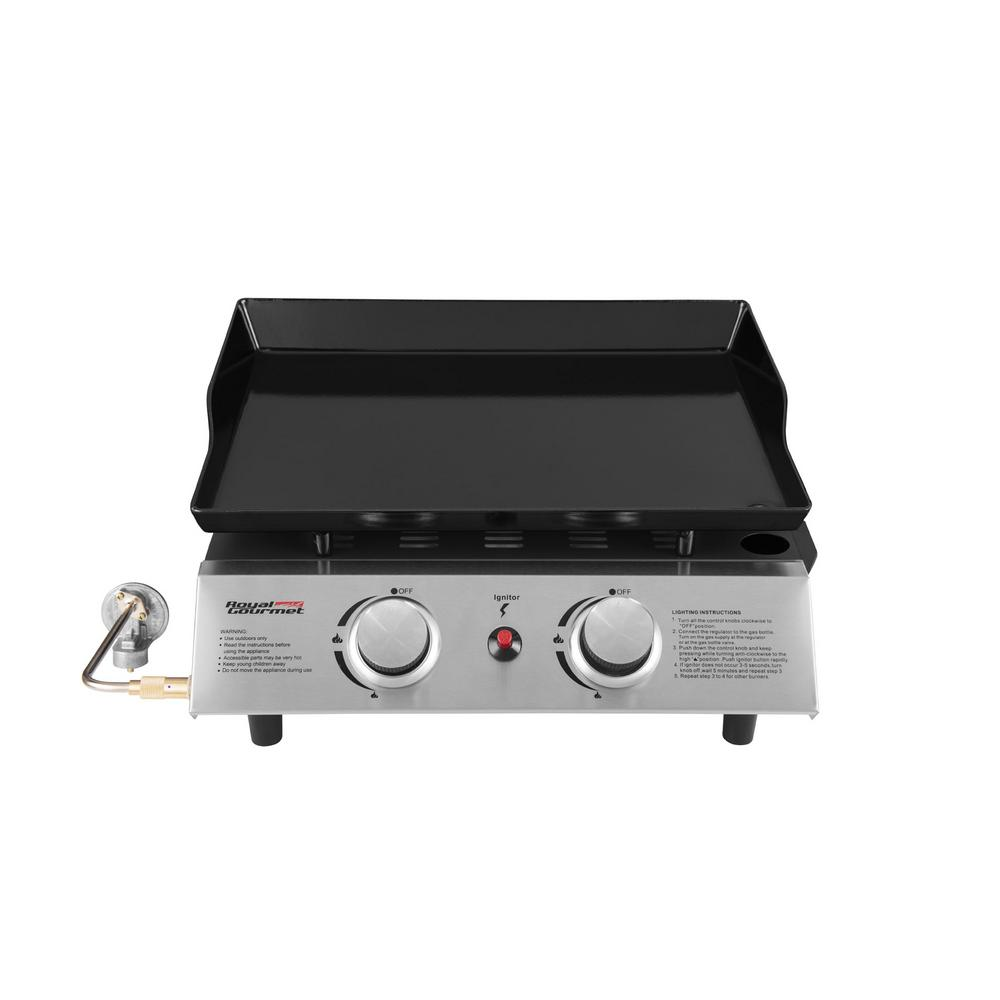 Royal Gourmet 2-Burner Portable Tabletop Propane Gas Grill Griddle in Black