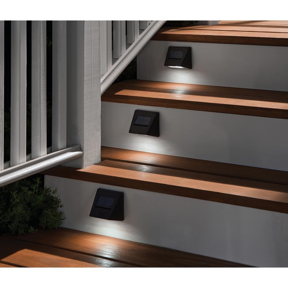Hampton Bay Solar Bronze Integrated Led Downcast Deck Light 4 Pack 43039 The Home Depot