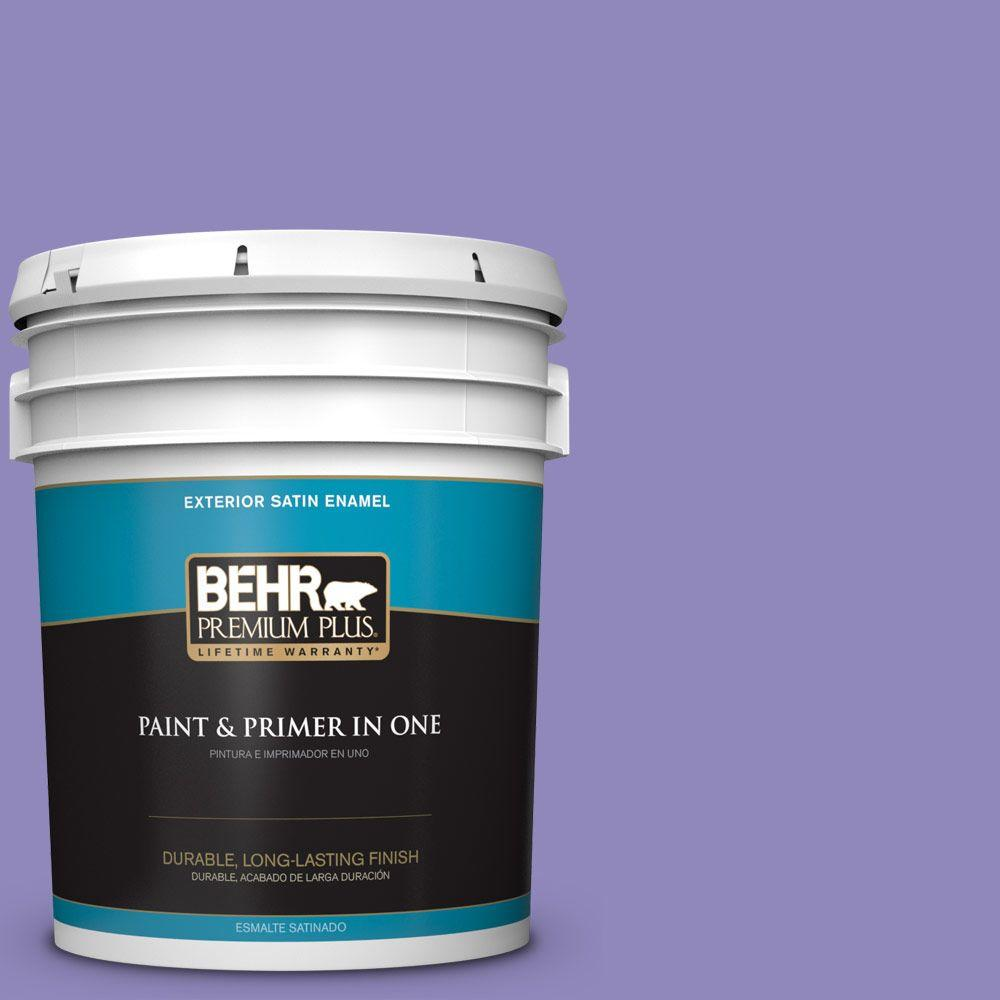 BEHR Premium Plus 5-gal. #630B-6 Butterfly Garden Satin Enamel Exterior Paint