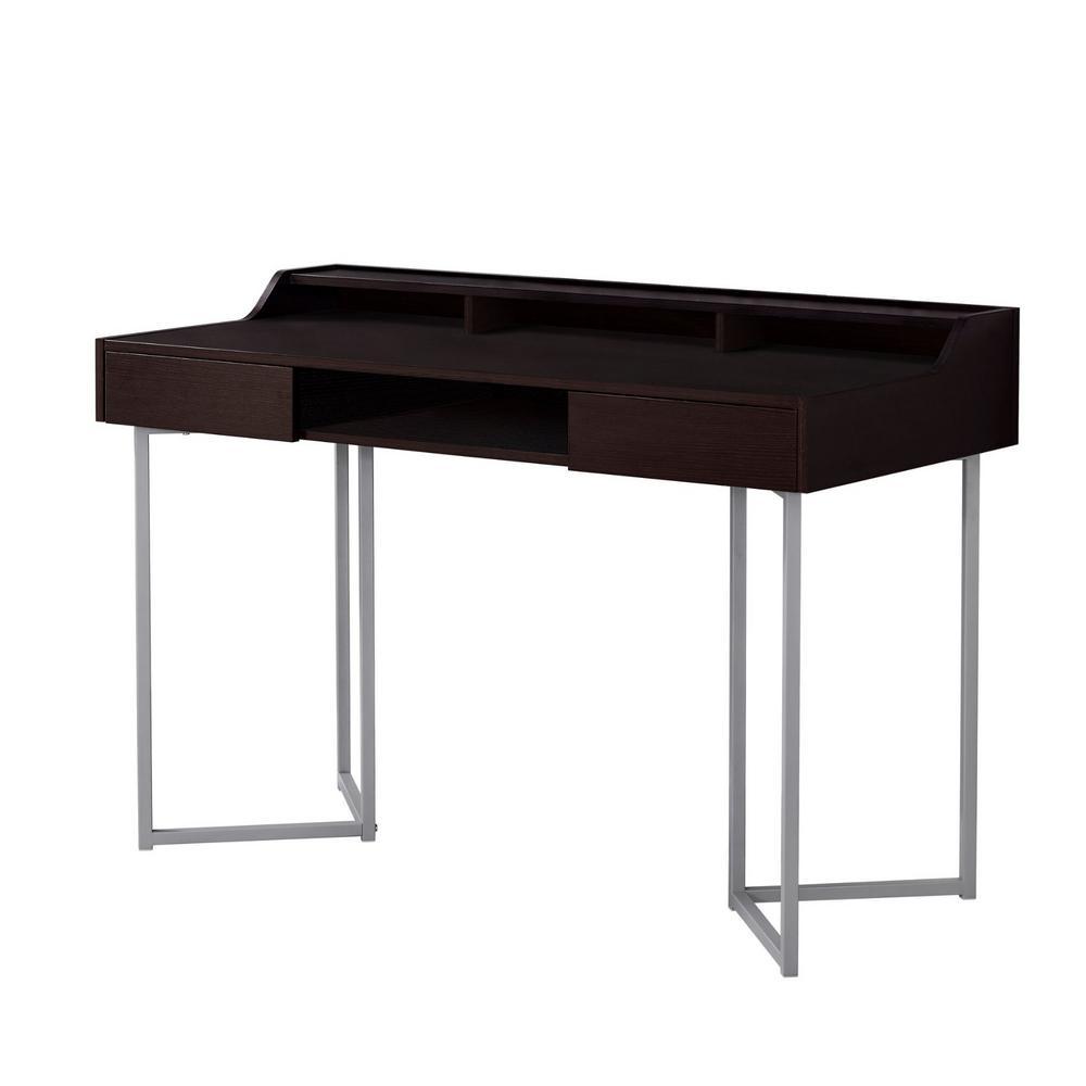Jasmine 1-Piece Cappuccino and Silver Computer Desk