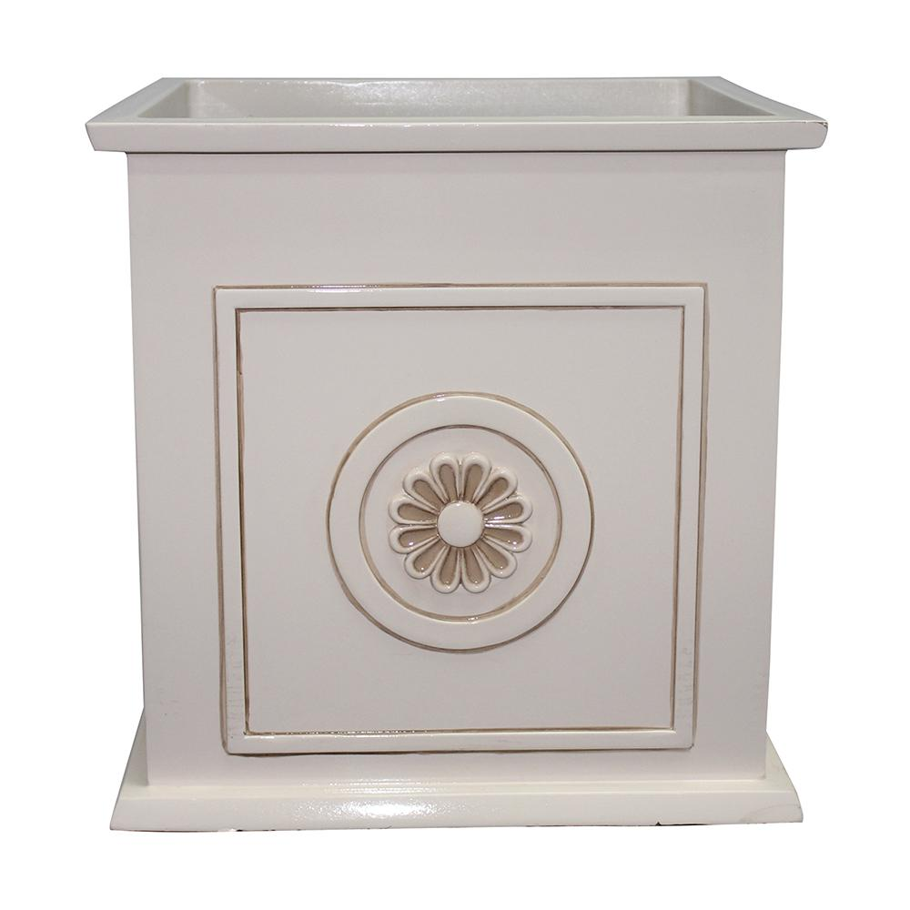 Southern Patio Colony 16 in. Dia Ivory Resin Composite Square Planter