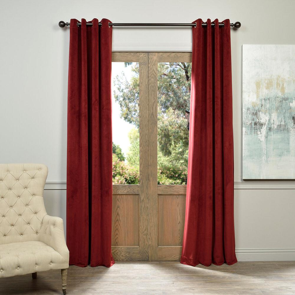 Blackout Signature Burgundy Red Grommet Blackout Velvet Curtain - 50 in.