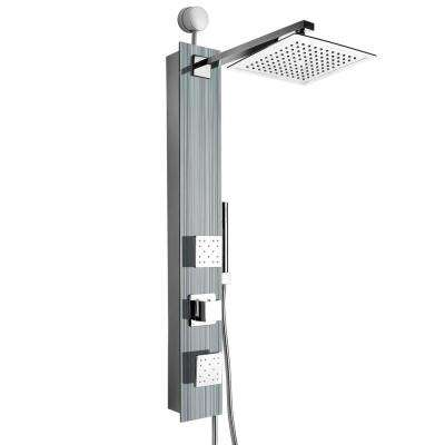 35 in. 2-Jet Easy Connect Shower Panel System in Silver Tempered Glass with Rainfall Shower Head and Shower Wand