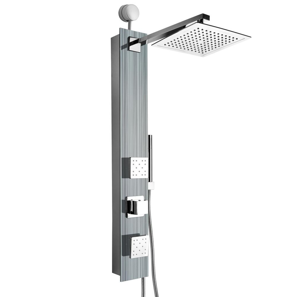 AKDY 35 in. 2-Jet Easy Connect Shower Panel System in Silver Tempered Glass with Rainfall Shower Head and Shower Wand