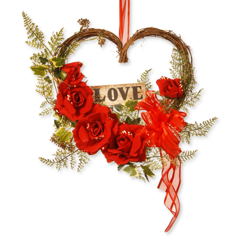 National Tree Company 12 In Heart With Rose Rav A030151a The